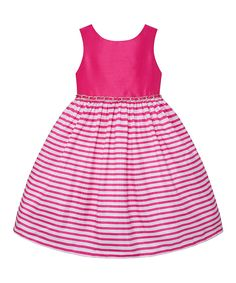 Look at this American Princess Hot Pink Stripe A-Line Dress - Girls on #zulily today!