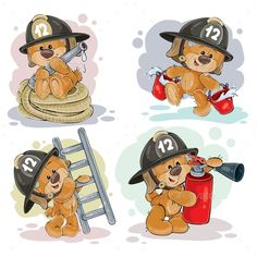 Clipart illustration of a teddy bear firefighter with rescue equipment, hose, fire extinguisher, with a bucket and a ladder isolat