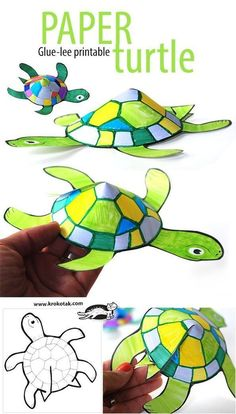 Snail and Turtle Are Friends. Art idea. Glue-less printable paper turtle craft for kids!