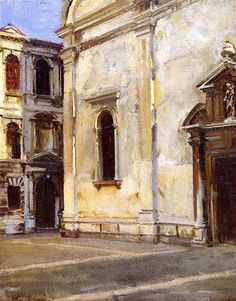 John Singer Sargent    Santa Maria Del Carmelo And Scuola Grande Dei Carmini Date: 1910 Style: Impressionism Genre: cityscape Media: oil, canvas Dimensions: 55.88 x 71.12 cm Location: Private Collection