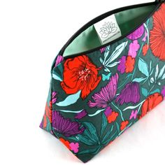 Teal and Red Night Floral Makeup Bag by JordaniSarreal #stockingstuffer #etsy #shophandmade