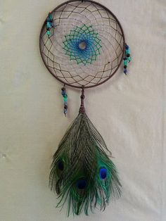 Hemp Macrame Peacock Feather Dream Catcher by hempcreationsbyjulie
