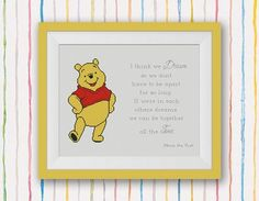 BOGO FREE! Winnie the Pooh Cross Stitch Pattern, Quote - I think we dream...we can be together all the time, PDF Instant Download #015-4-11 by StitchLine on Etsy