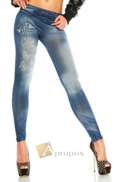 Leggings Jeggings Treggins Stretch Strumpfhose Jeans Blau OS 34- 38