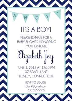 Shorely Chic: NAUTICAL BABY SHOWER INVITES
