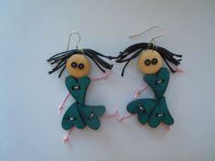 Orecchini Bamboline Verdi di Foresta Mentale Chiaresca su DaWanda.com