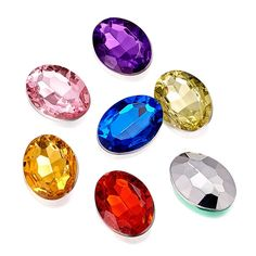 """Acrylic Rhinestone Cabochons Back & Faceted Oval Shape Mixed Color 18x13x5mm Apx 500pcs/bag, 500pcs/bag.   Rhinestone Cabochons are the best component for you! No matter pasting them on the cabochon settings or pasting them on your clothes, they're always the best decoration components to show your character.  Fast ship and send with""""FREE GIFT"""" by thehotproducts.com.   Thanks"""