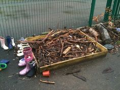 "Make a space for saving all the sticks that get collected on trips outside. Lots of ideas for using the stick collection later: Stick letters, stick sculptures, stick jigsaws etc. From ""Im a teacher, get me OUTSIDE here!"""