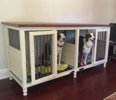 Introducing the Artsy Dog Condo! Why have an ugly metal crate when you can have a useful piece of furniture and a fancy dog condo all in one?! The kennels are built with high quality materials, mortise & tenon style wood joinery and lots of Love. Everything is custom built made to order and comes fully assembled. Current build time is 8-10 weeks.  Custom sizes, reclaimed wood tops, specialty hardware/decorative metal rods and Shabby Rustic finish upgrades are available. Please messag...