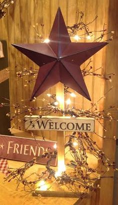 Barn Star Wooden Light Post Primitive Decor