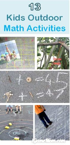 Outdoor math activities for kids from preschool to high school. Fun STEM activities for kids. Outdoor Activities For Kids, Kids Learning Activities, Math For Kids, Stem Activities, Fun Math, Summer Activities, Fun Learning, Outdoor Learning, Outdoor Education