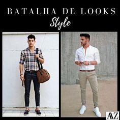 BATALHA DE LOOKS  CAMISA XADREZ X CAMISA BRANCA Looks Style, Suits, Photo And Video, Videos, Instagram, Fashion, White Jersey, Battle, Moda