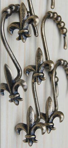 Fleur de Lis Shower Curtain Hooks from Wholesale-Faucet.com