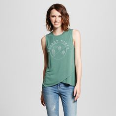 Women's Desert Vibes Cross Hem Muscle Olive XL- Modern Lux (Juniors'), Size: XL, Green
