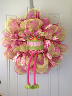 Pink and Green  Deco Mesh Owl  Wreath by TammysFlowersandmore, $60.00