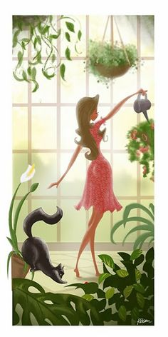 Girl with Cat Watering Plants Illustration by Rani Bean