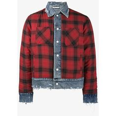 Amiri Reversible Flannel And Denim Trucker Jacket ($3,555) ❤ liked on Polyvore featuring men's fashion, men's clothing, men's outerwear, men's jackets, men's flannel lined denim jacket, mens denim trucker jacket, mens red jacket, mens flannel jacket and mens reversible jacket