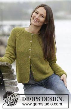 """Sweet Olivia Cardigan - Von oben nach unten kraus rechts gestrickte DROPS Jacke in """"Alpaca"""" mit Raglanärmeln. Größe S - XXXL. - Free pattern by DROPS Design"""