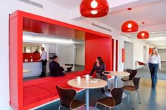 red color pop, office interiors
