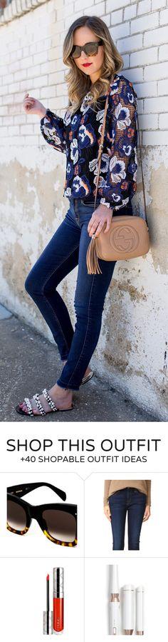 #summer #outfits  Black Printed Blouse + Navy Skinny Jeans + Beige Leather Shoulder Bag