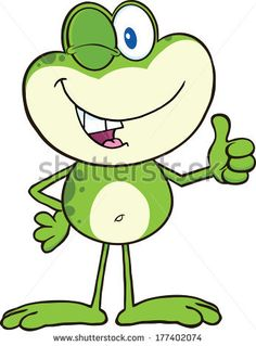 Cute Green Frog Cartoon Character Winking And Holding A Thumb Up. Vector Illustration Isolated on white