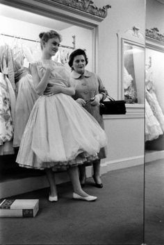 High school girls buying prom dresses at Saks Fifth Avenue, early 1950s
