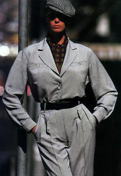 Gilles Bensimon for Elle magazine, April 1988. Clothing by Azzedine Alaia.