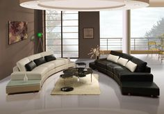Living Room:Elegance Living Room With White And Black Leather Curved Sofa Set Round Glass Coffee Table White Fur Rug Modern Circle Plafond Downlight Glass Windows Vase Floor Display Outdoor Chairs And Table Set How To Contemporary Living Space Ideas Looks Like Elegant
