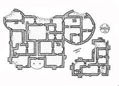 #02_Floor_2_V2........................................... map #02 is a keep (4 floor) and underground in 3 versions . V1 = severely damaged V2 = half repaired V3 = totally built, dungeon rpg map, by unknown user