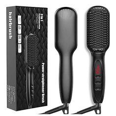 Hair Straightener Brush, JUMPHIGH Ionic Hair Straightening Brush with Fast MCH Ceramic Heating, Anti-Scald, Auto Temp...