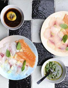 Carpaccio de poissons aux deux sauces