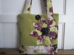 Womens Purple tote bag Green handbag Large by BerkshireCollections
