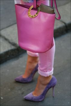 pink celine bag+ purple pumps