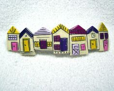 Barrette  Row of Houses  Handmade from Polymer Clay  by MyStudio91, $24.00