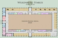 Indoor Arena and Stable Plan! check out the whole terrain of Wilkenburg Stables In the guest rooms can live people who want to spend for such a tourname. Horse Farm Layout, Barn Layout, Minecraft Horse Stables, Horse Barn Designs, Dream Stables, Dream Barn, Horse Barn Plans, Horse Arena, Indoor Arena