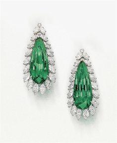 Emerald and Diamond Pendants by Harry Winston