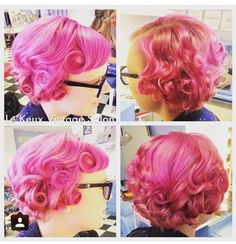 Pink 20s 30s Bob pincurled vintage hair set Vintage hair and make up by Le Keux Vintage Salon Bridal, special occasions, prom, hen parties. Available nationwide, UK. Www.lekeuxvintagesalon.co.uk.