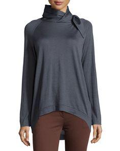 Brunello Cucinelli Asymmetric-Turtleneck High-Low Sweater, Blue, Women's, Size: M, C2480 Blue