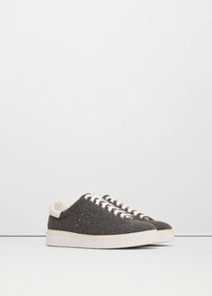 Leather appliqué sneakers - Shoes for Woman | MANGO Ireland