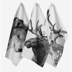 Scandinavian collection of tea towels and home accessories from By Nord Denmark, Ferm Living and Louise Roe. Popular wolf, deer and moose Scandinavian designed tea towels from ByNord