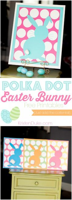 Polka Dot Easter Bunny Free Printable, fun to decorate the Easter table // KristenDuke.com