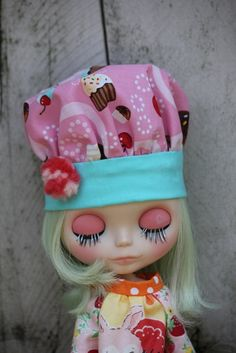 Blythe hat helmet, chef baker bakery, cupcakes pink aqua, 1/6th scale via Etsy