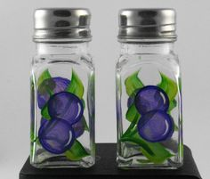 Hand painted glass salt and pepper shakers by PattisPaintedPetals,