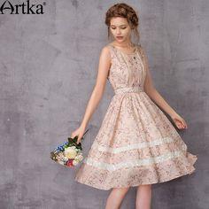 c1971c81dd Das artka mulheres 2017 verão novo impresso renda patchwork dress o pescoço  império mangas cintura do