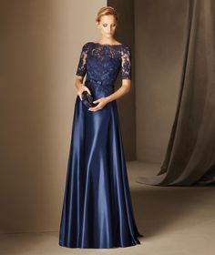 BOADA - Vestido de madrinha corte na cintura, decote em barco, renda e tule | Pronovias