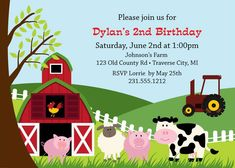 Shop Cute Farm Animal Birthday Party Invitations created by alleventsinvitations. Farm Animal Party, Farm Animal Birthday, Barnyard Party, Farm Birthday, Birthday Ideas, Birthday Parties, Animal Fun, Third Birthday, Themed Parties