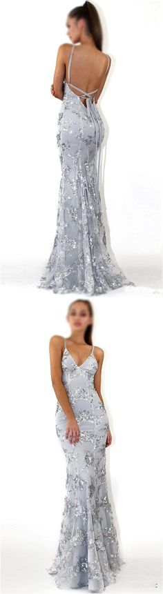Sequin Silver Sparkly Mermaid Popular Newest Prom Dresses, Fashion Gown, Evening Dresses, PD0305