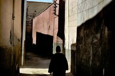 by Harry Gruyeart / Shaded streets of the medina, Marrakech Morocco, 1977