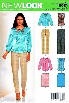 New Look Sewing Patterns 6081 Misses Sizes 10-22 Fitted Button Front Blouse Pants Straight Skirt    New+Look+Sewing+Patterns+6081+Misses+Sizes+10-22+Fitted+Button+Front+Blouse+Pants+Straight+Skirt