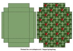 Just Holly Christmas Gift Box with Lid on Craftsuprint designed by Katy Kinsey - An easy to make gift box with lid decorated with boughs of holly - Now available for download!